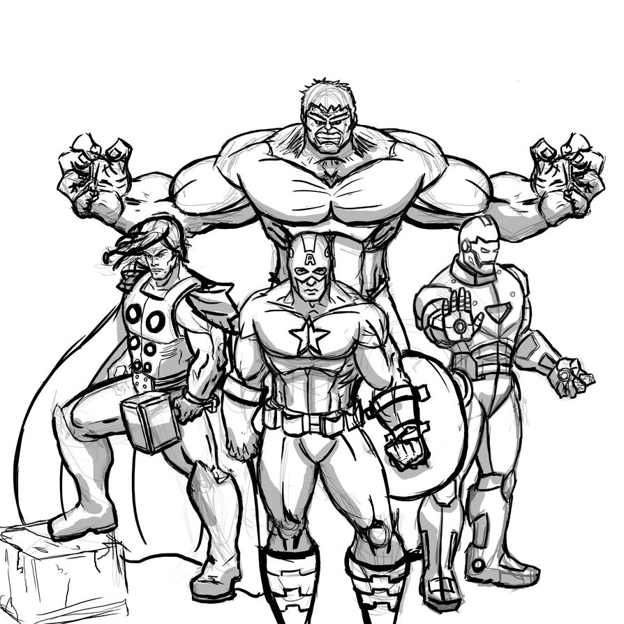 D Line Drawings Quest : The avengers wip by dee pathirana on deviantart