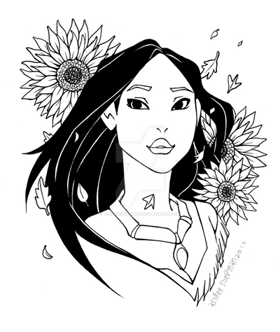 Pocahontas (black and white) by AshleeSherman
