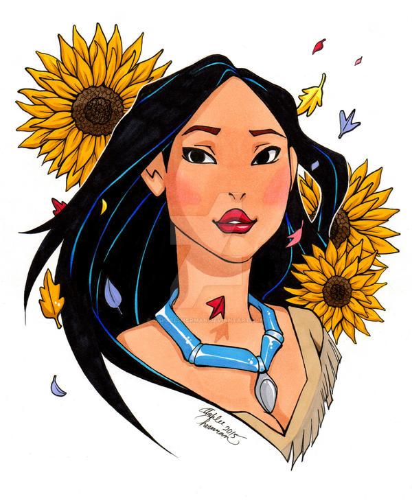 Pocahontas (colored) by AshleeSherman