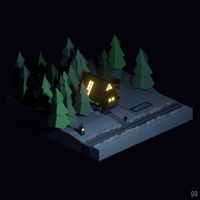 Isometric Low poly house 3d model
