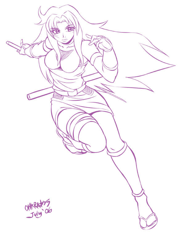 Ninja Nancy Commish: Lineart by WolfHyde