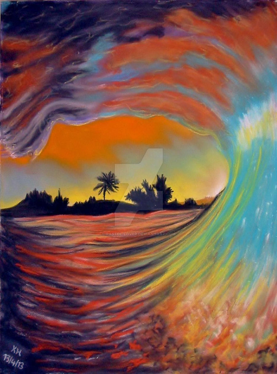 Blue Sunset ACEO soft pastel drawing All proceeds to by ... |Pastel Drawings Of Sunsets