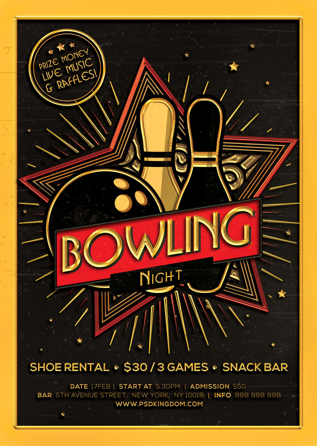 bowling flyer template .
