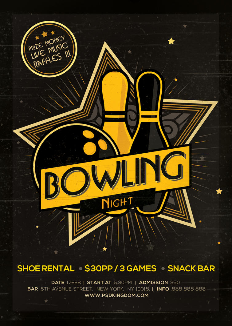 bowling magazine ad poster or flyer flat and 3d by