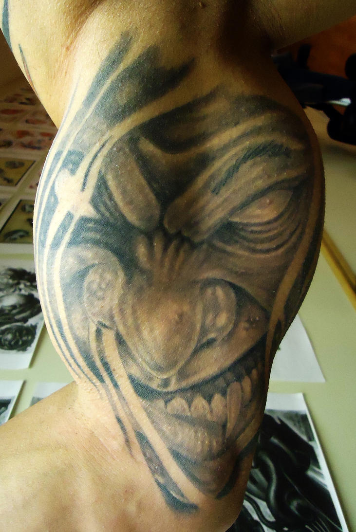 tattoo evil face 1 by tattooloko on deviantart