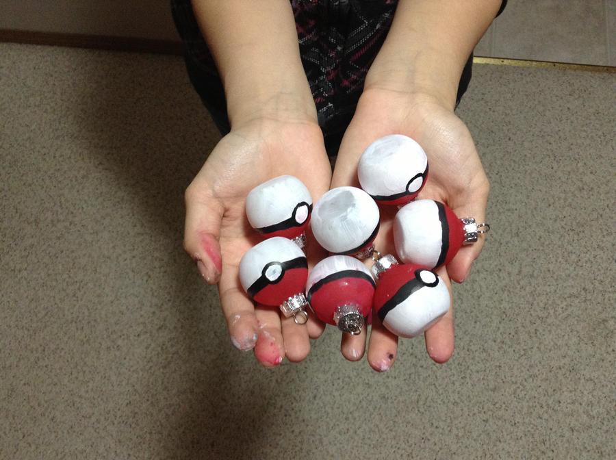 Handpainted Pokeball ornaments by the-neko-maki-chan