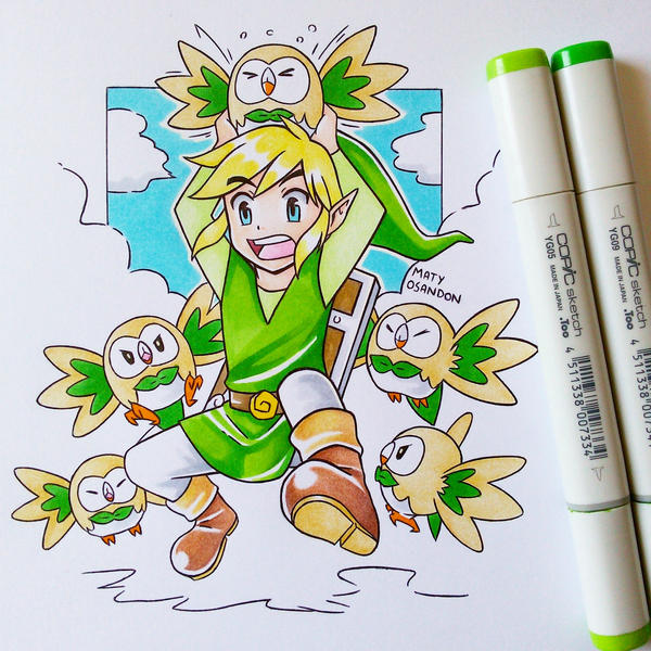 Link and rowlet  by matyosandon