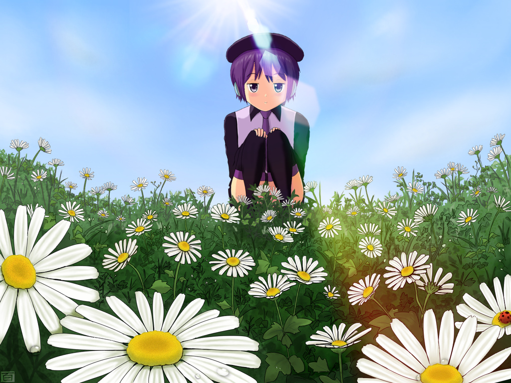 Defoko in flower field by Hyakuya