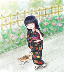 Kimono-Girl with Cat by Hyakuya