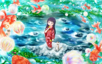 Kimono-Girl with Goldfish by Hyakuya