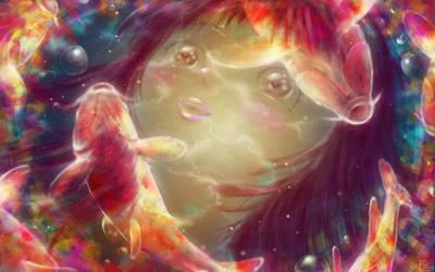 Girl with Colorful Carps by Hyakuya