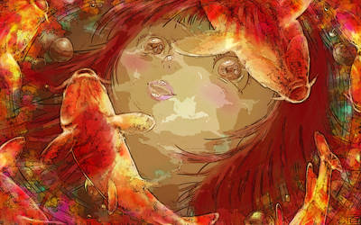 Girl with Colorful Carps(posterized) by Hyakuya