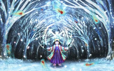 Shrine Maiden with Snow Spirits by Hyakuya