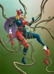 Bat Harley vs Poison Ivy's vines by NikoAlecsovich