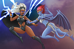 Storm vs Demona by NikoAlecsovich