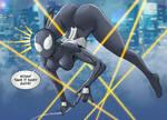 Symbiote Spider-girl  dodging bullets by NikoAlecsovich