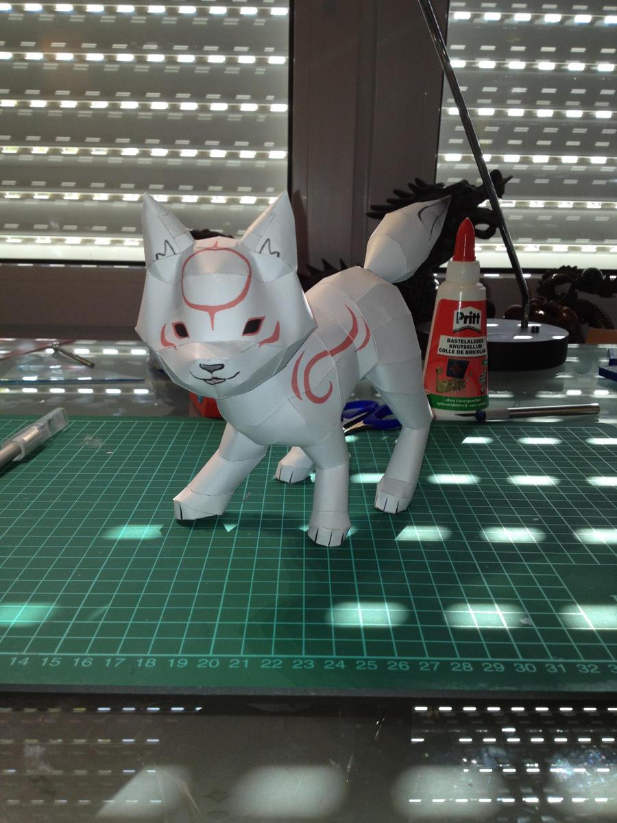Chibiterasu papercraft by ScarletHeartfilia