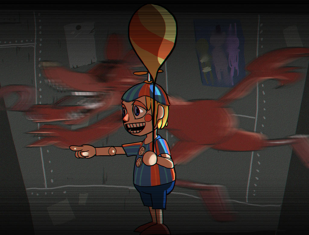 Five night at freddy s 2 balloon boy and foxy by dalsegno2525