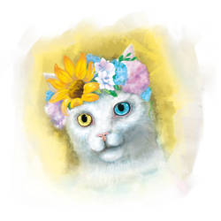 Cat with Blossom Crown