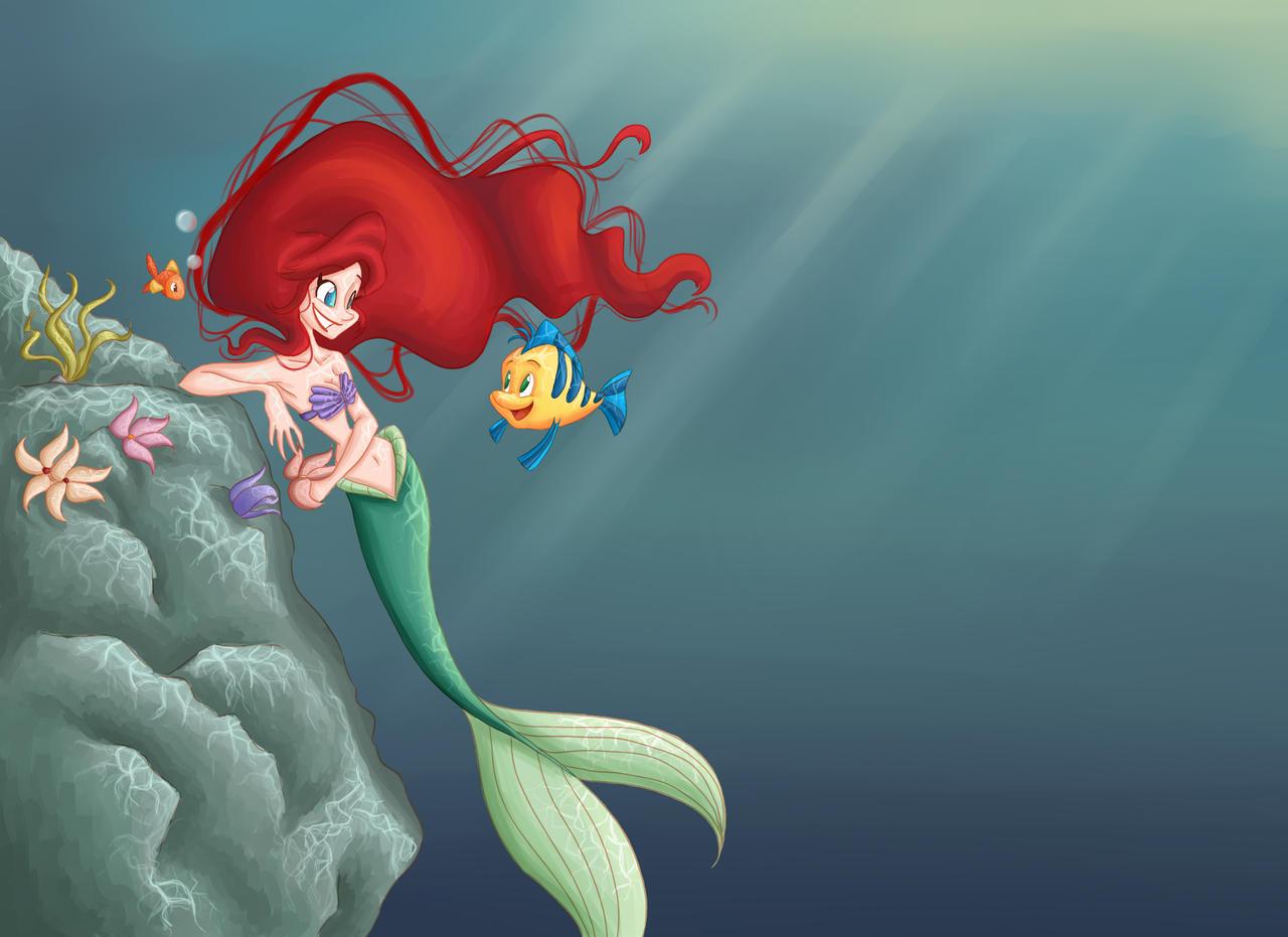 Ariel and Flounder by GildingofNightfall