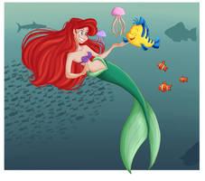 Flounder and Ariel by GildingofNightfall