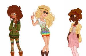 Hipster PJ girls by GildingofNightfall