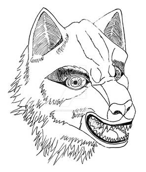 Wolf angry vectorized