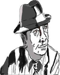 Bob Hoskins (Tribute drawing) Black and white by thunderaxewarrior