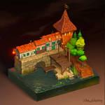 Witch trial diorama