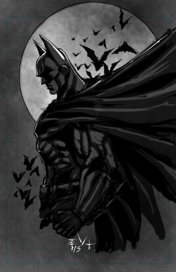 Batman Sketch and video by ErikVonLehmann