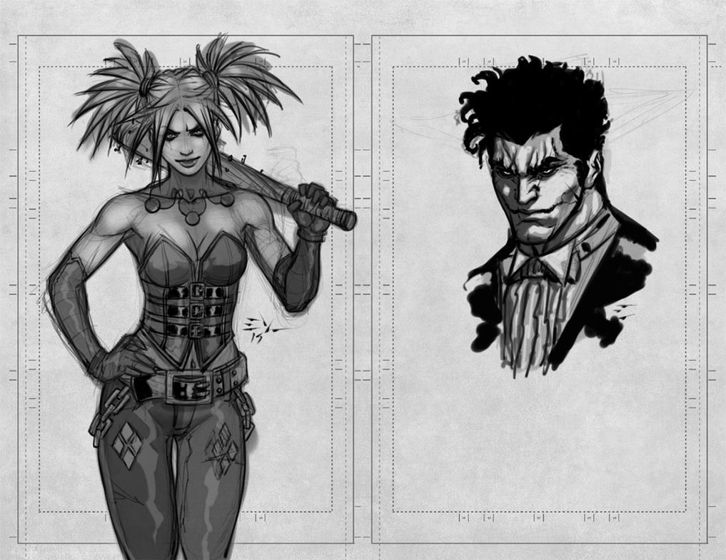 Harley Quinn Joker Sketch by ErikVonLehmann
