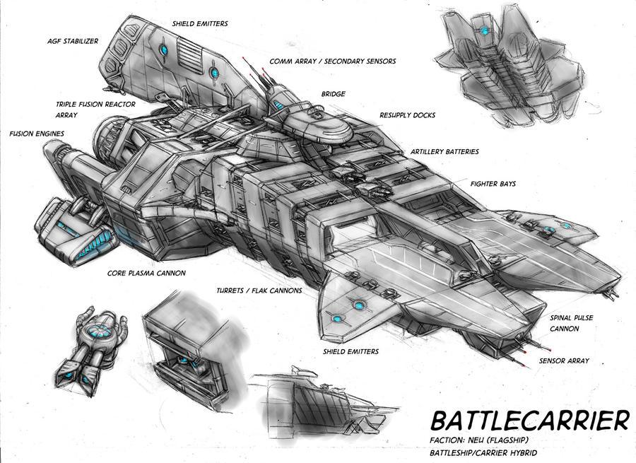 Battlecarrier concept 2 by s0lar1x