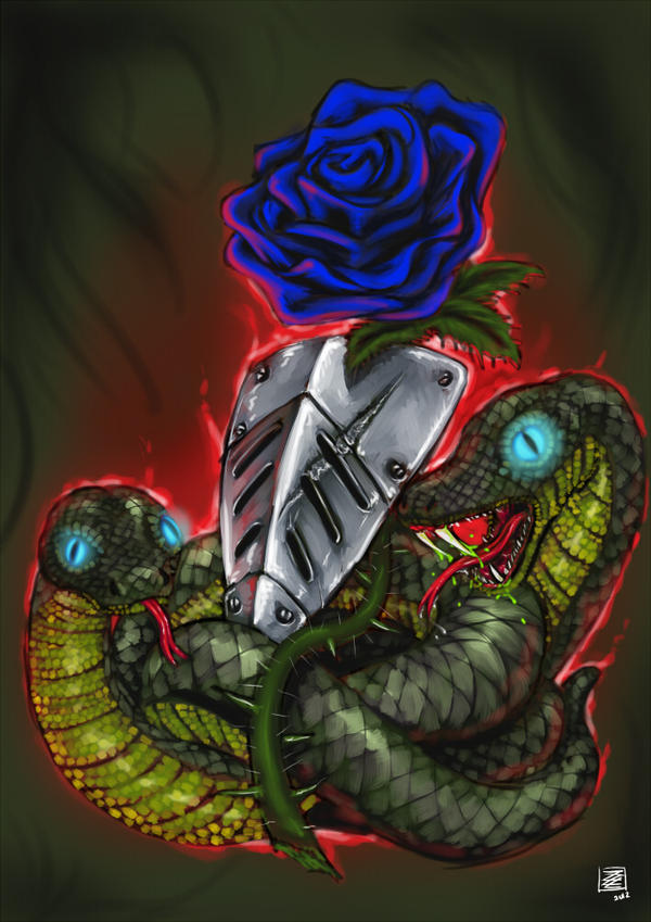 Rose, Shield and Snakes by s0lar1x