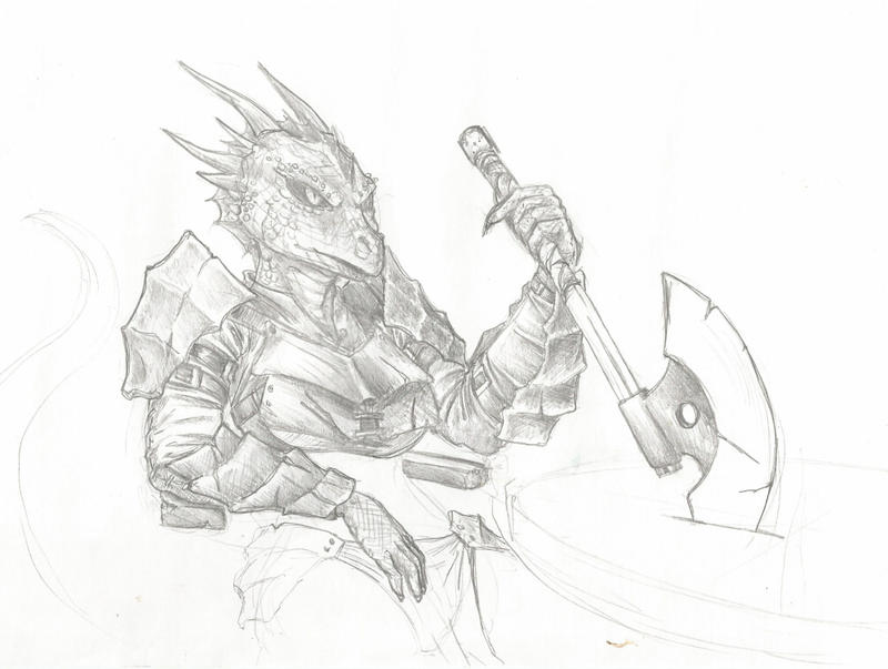 Argonian warrior sketch by s0lar1x