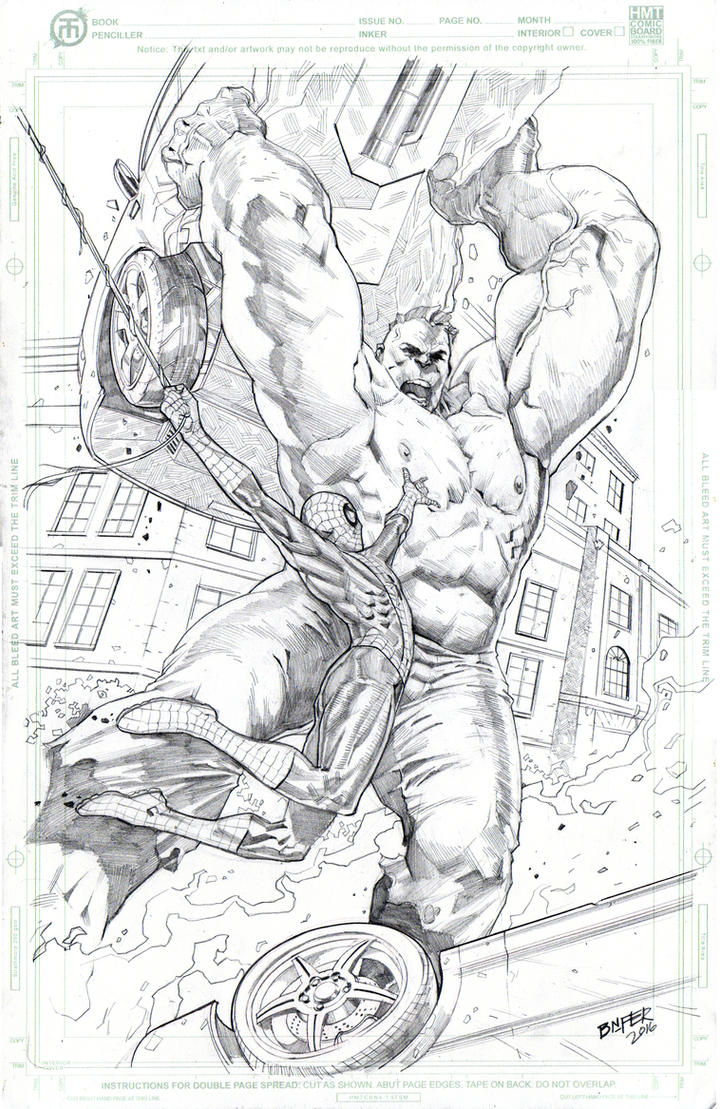 Spidey Vs Hulk 11x17 HMT Comic art board by BienFlores