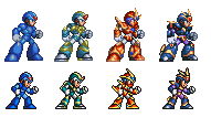 megaman x corrupted: x armors (32-bit and 16-bit) by kensuyjin33
