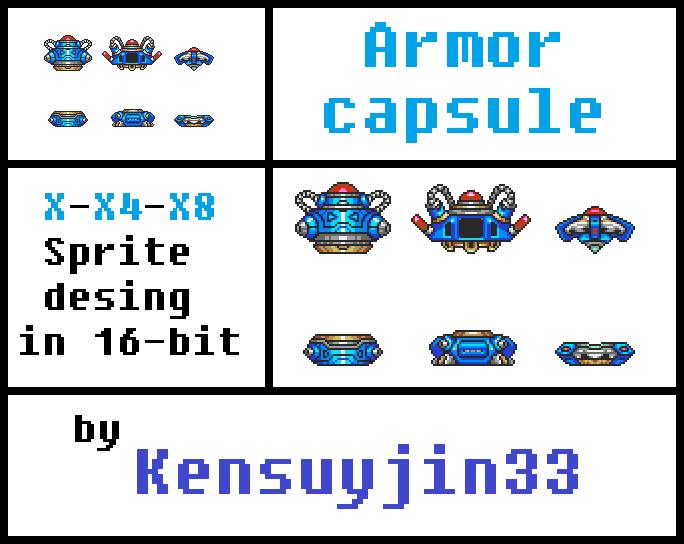 Armor Capsule (X-X4-X8) Sprites design in 16-bits by kensuyjin33