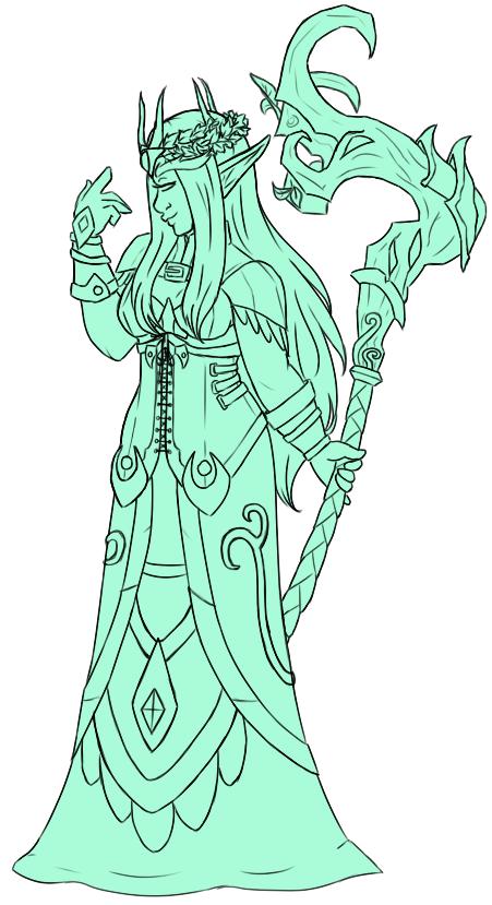 druid line art (wip) by faerie-daze