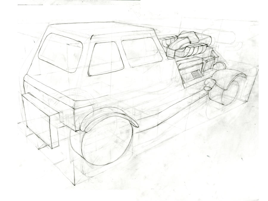 Car drawing in 3 point perspective by FigNewton9 on DeviantArt