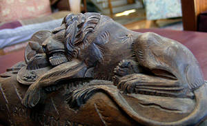 wooden carved lion stock two by TheRavenWing-stock