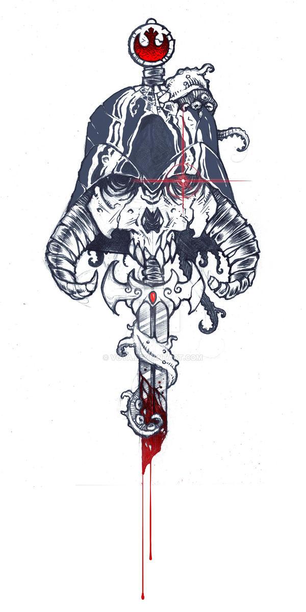 Sci-fi Fantasy Medly Tattoo by voya