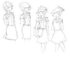 Piri's Military and Nurse Uniforms During WWII by MizuRyuuKH105