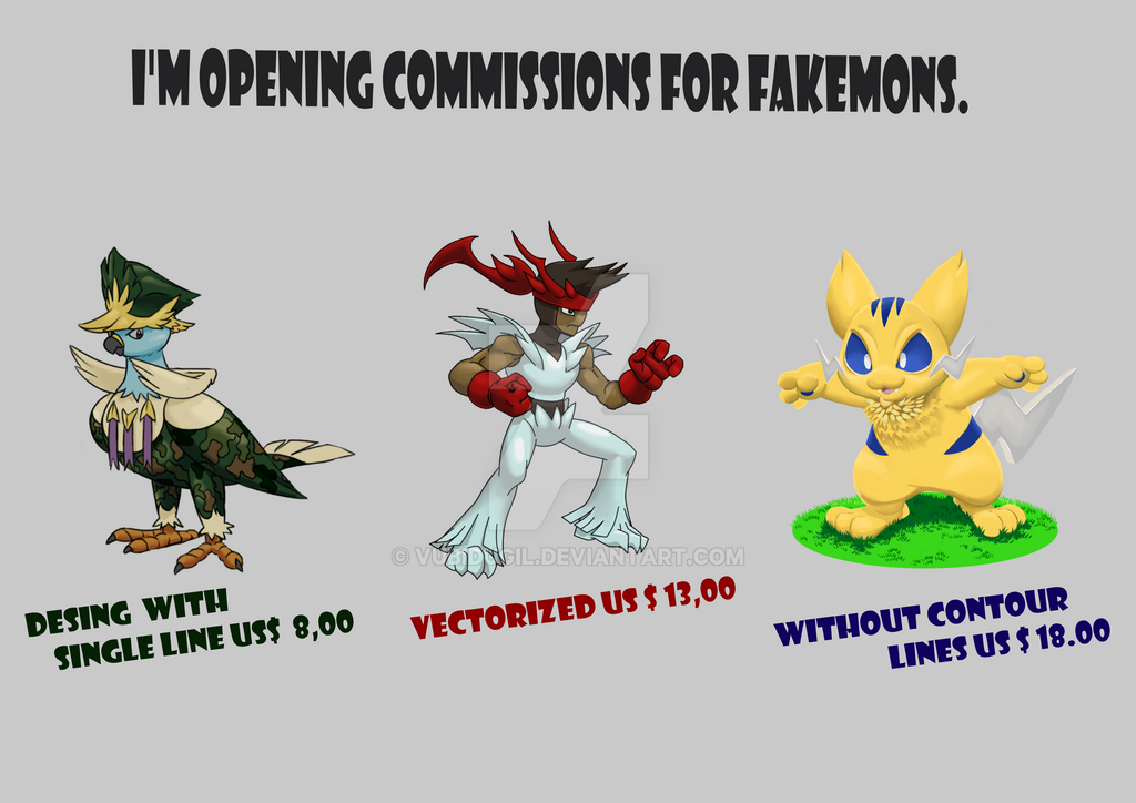 I'm opening commissions for fakemons. by vubidugil