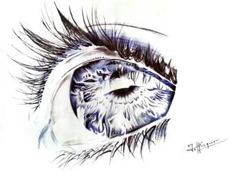 Blue Eye Ballpoint Pen Sketch by JeffSequeira