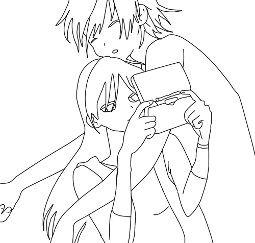 anime couple coloring pages kissing - photo#14