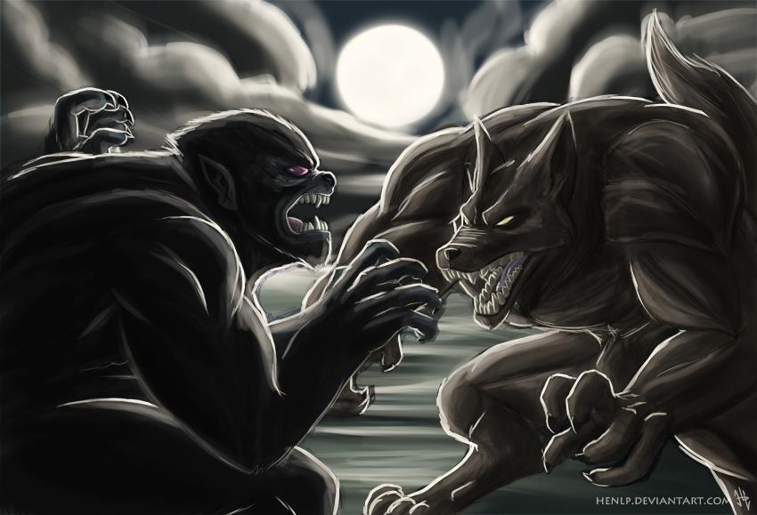 Wolfman vs Werewolf by HenLP on DeviantArt