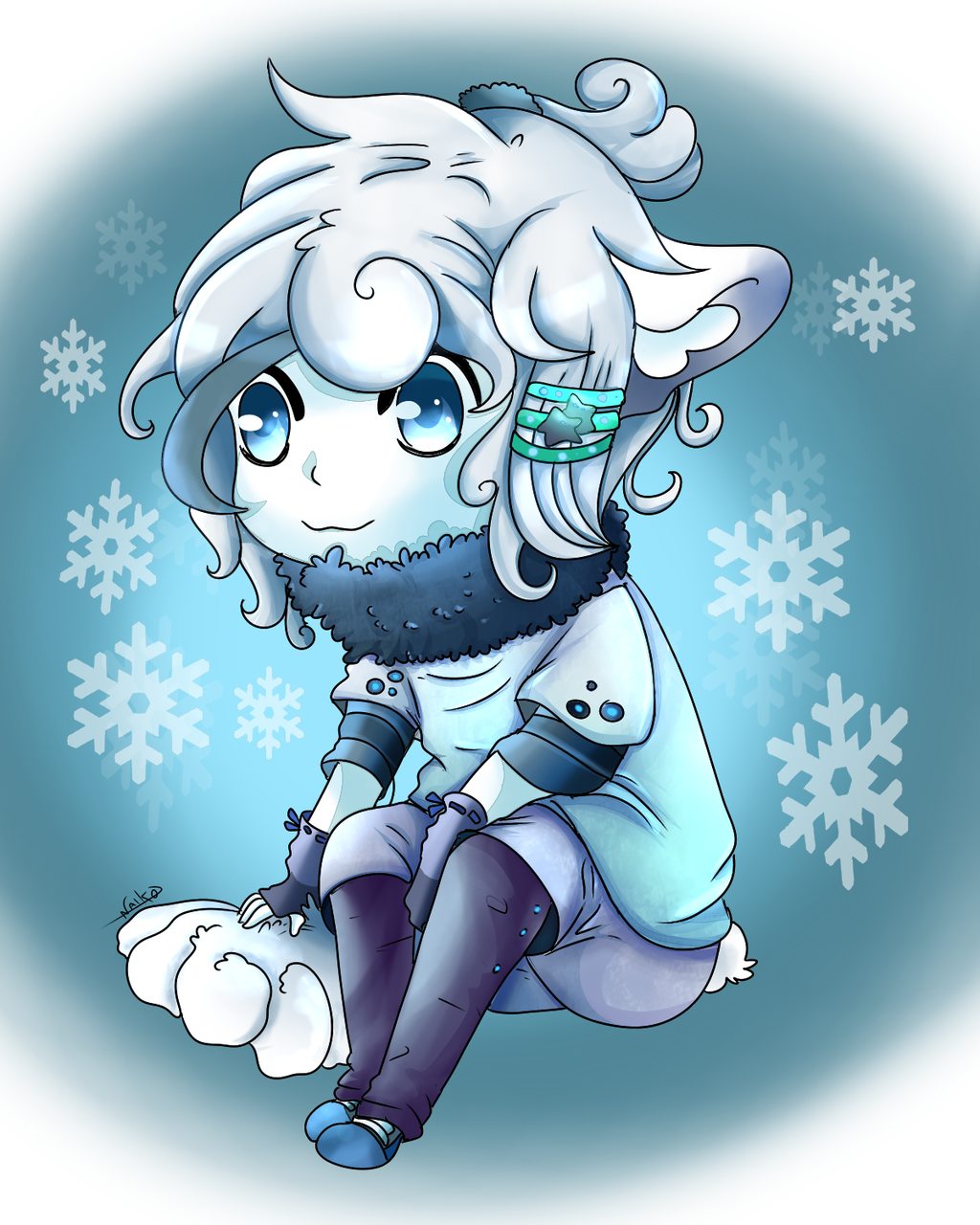 Snowy Gijinka Vulpix Alola- Pokemon Moon and Sun by NaikoDraw on ...