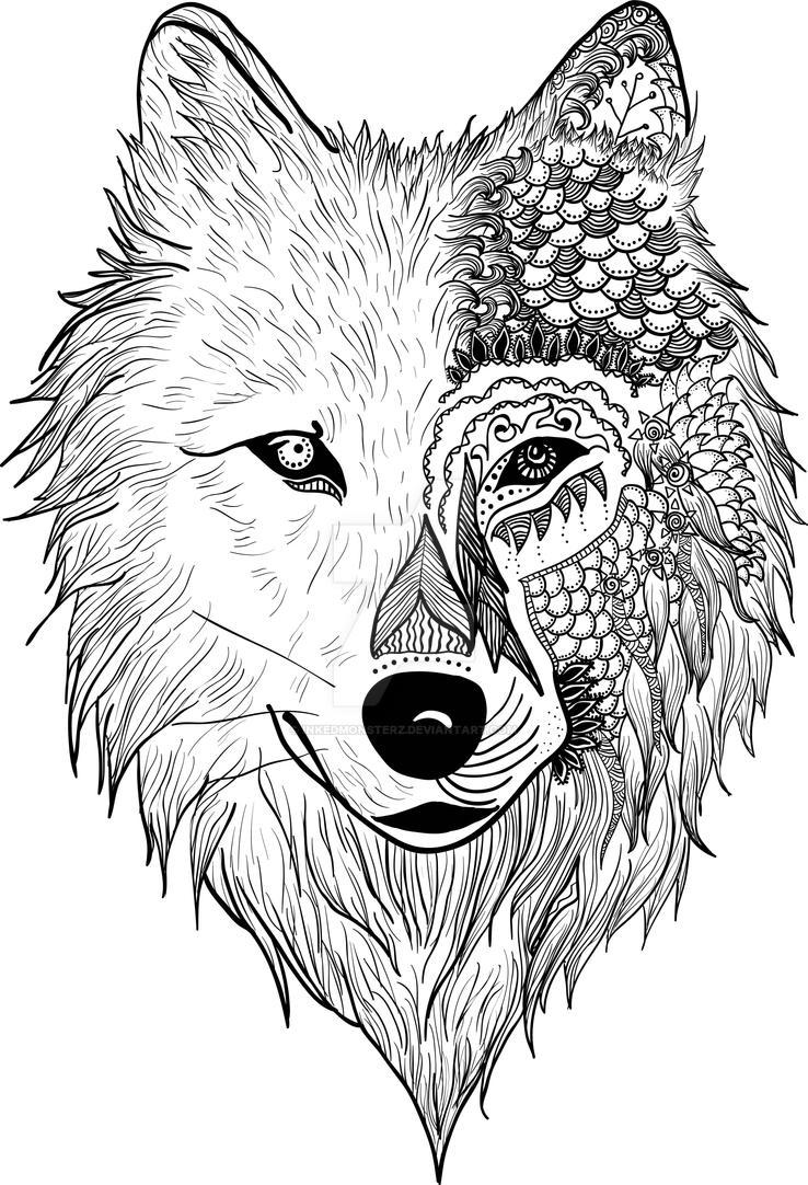 Wolf Zentangle By Inkedmonsterz
