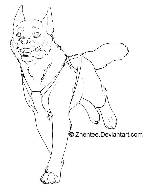 Line Drawing Of A Dog : Sled dog free line art by zhentee on deviantart