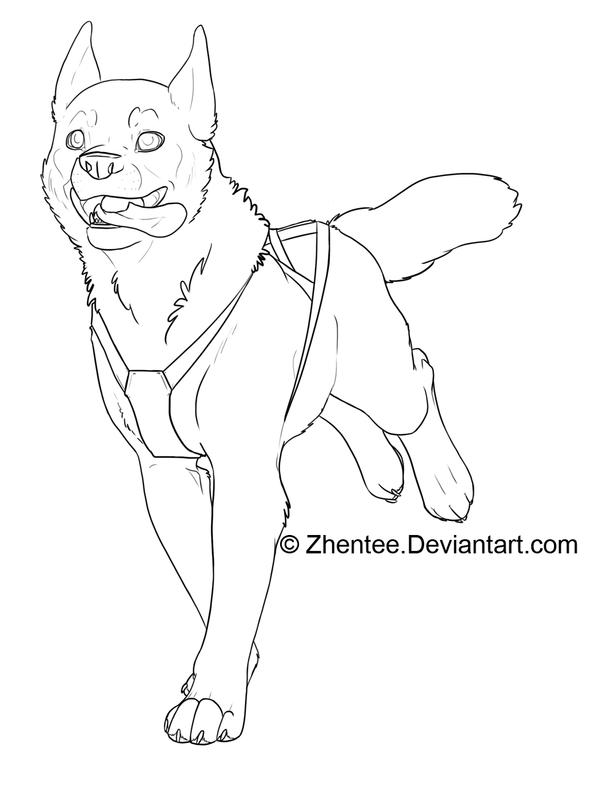 Line Art Dog : Sled dog free line art by zhentee on deviantart